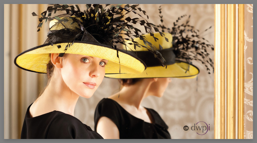 Fashion Millinery Photography - Ladies' high fashion shoot on location at Bedfordhsire mansion house