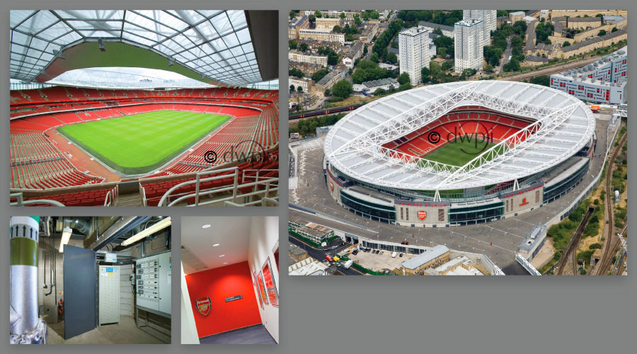 Find out more - Commercial aerial photographs above the Emirates Stadium enabled us to photograph the complex lighting installation and capture the quality of light you'll find at Arsenal Football Club.